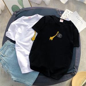 男士短袖T恤男夏季韩版印花体恤宽松潮牌上衣港风情侣打底衫衣服