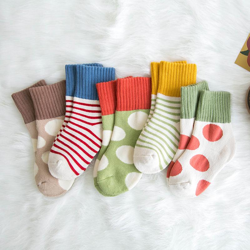 儿童袜子秋冬季纯棉保暖加厚加绒中大童男童女童宝宝毛圈袜中筒袜