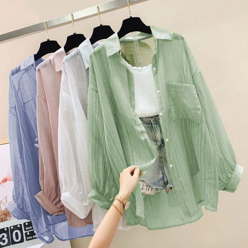 防晒衣服女开衫薄款外套2021年夏季大码新款雪纺衬衫韩版气质宽松
