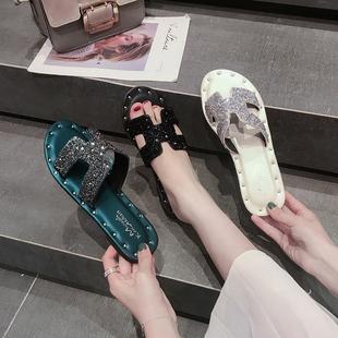 虹语儿夏季新款凉鞋拖鞋女夏韩版网红平底外穿时尚学生凉靴平底