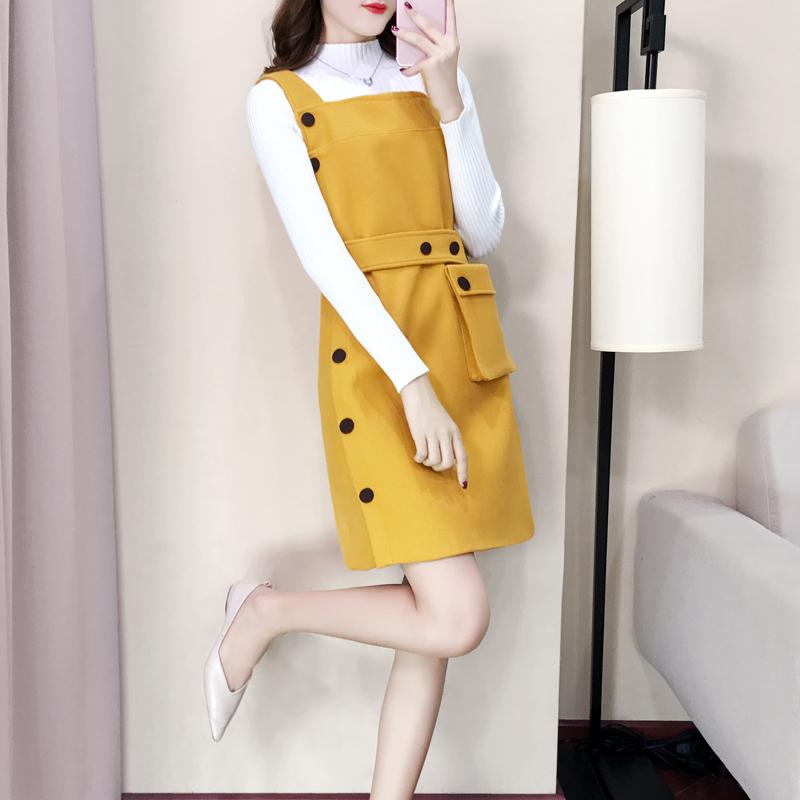 毛衣加裙子两件套秋季背带裙套装毛呢名媛小香风连衣裙秋冬呢子
