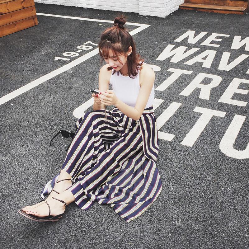 2017夏季新款度假长裤显瘦高腰条纹侧开叉阔腿裤女夏休闲裤裙裤潮