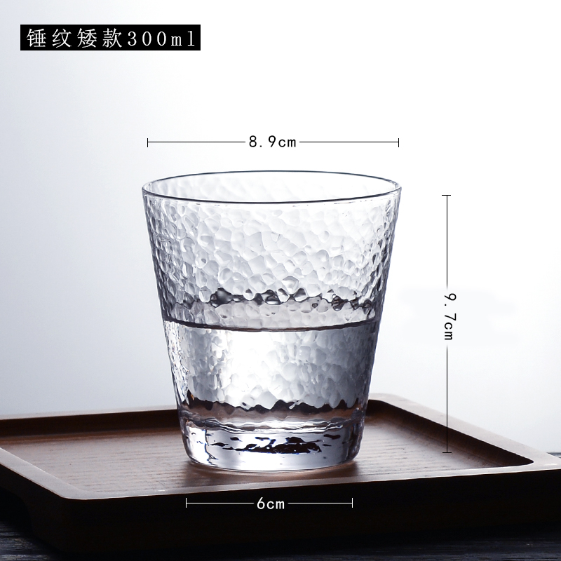 曼薇 金边锤纹玻璃水杯 300/320ml