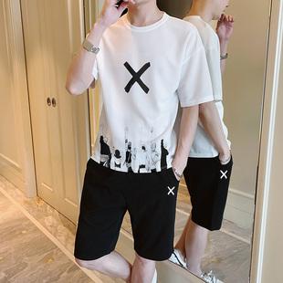 男士短袖t恤2019新款夏季潮牌男装一套搭配潮流帅气夏装休闲套装