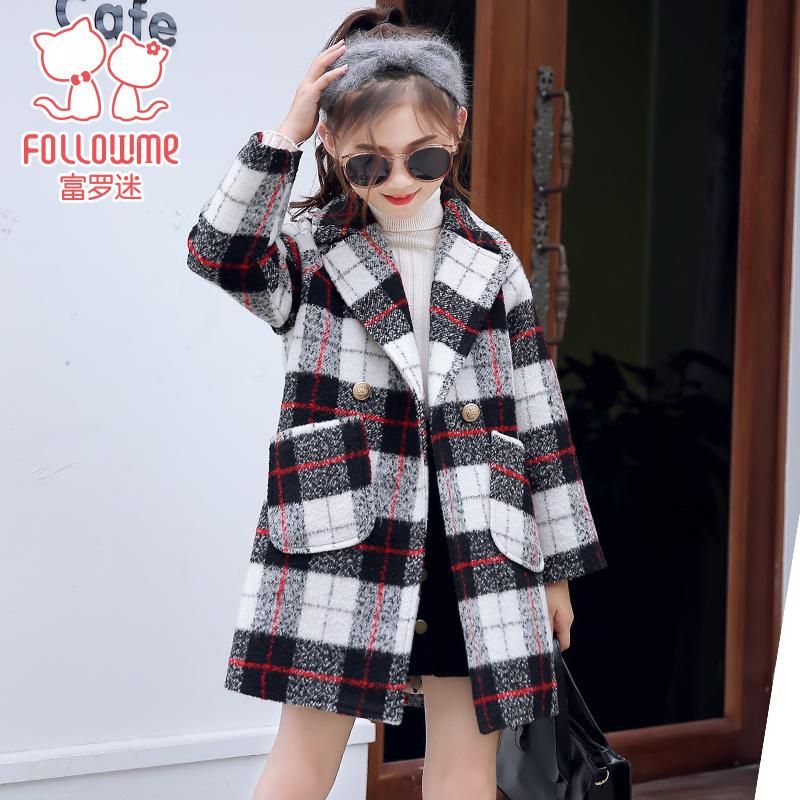 富罗迷童装女童加厚外套2018冬季新款呢大衣韩版格子外套儿童大衣