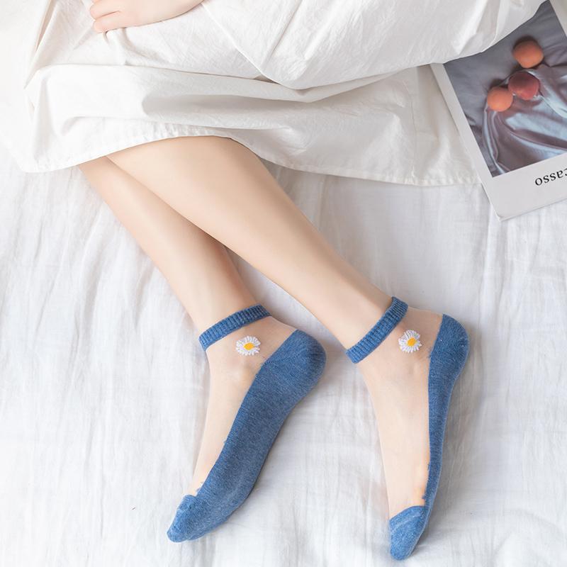 小雏菊袜子女ins潮短袜浅口夏季薄款棉底水晶玻璃丝袜隐形船袜女