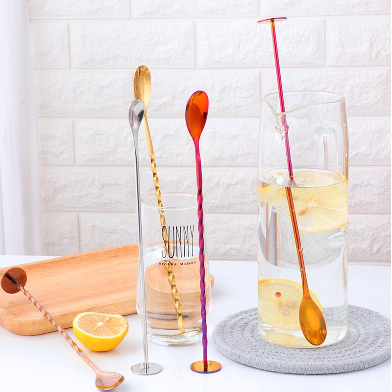 304不锈钢站立式吧勺 创意站立式酒吧鸡尾酒饮品搅拌勺长柄调味勺