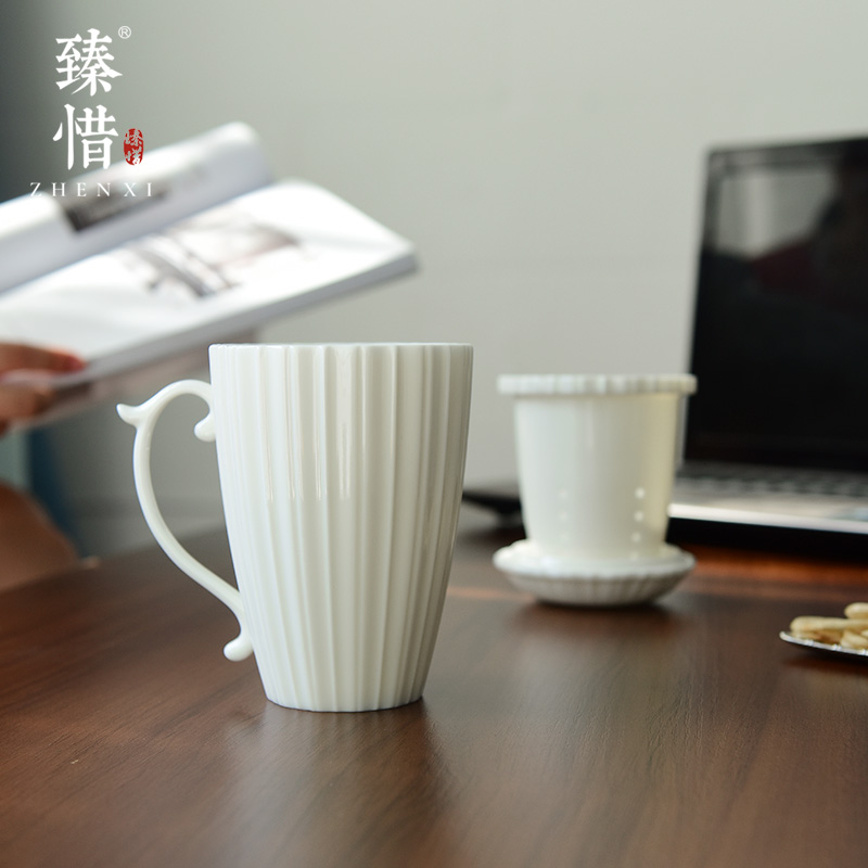 Become precious little mountain stream keller cup cup white porcelain ceramic office filter tank with cover small pure and fresh