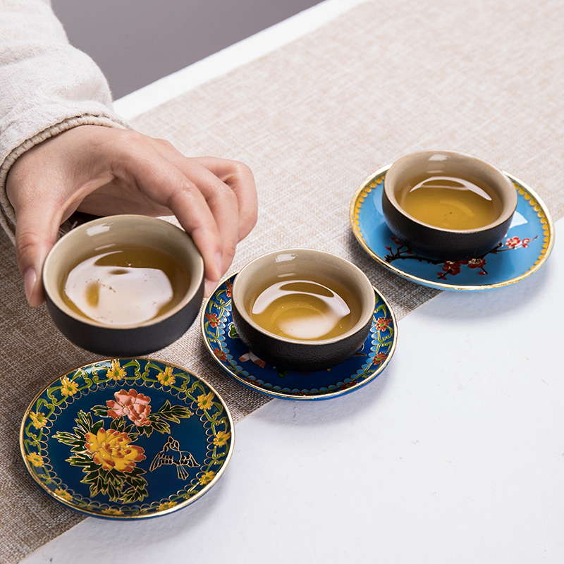 Minister 's cloisonne treasure coasters manual copper art cup mat cup insulation pad kung fu dao fittings saucer