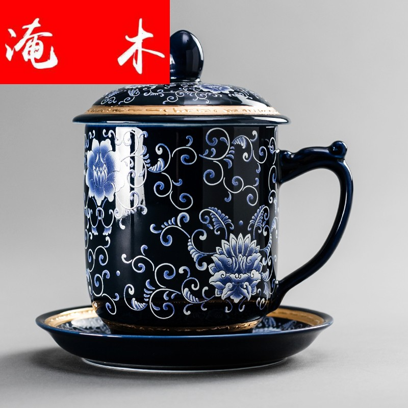 Submerged wood office jingdezhen blue and white porcelain ceramic cups picking cup size with the boss cup suit men and women