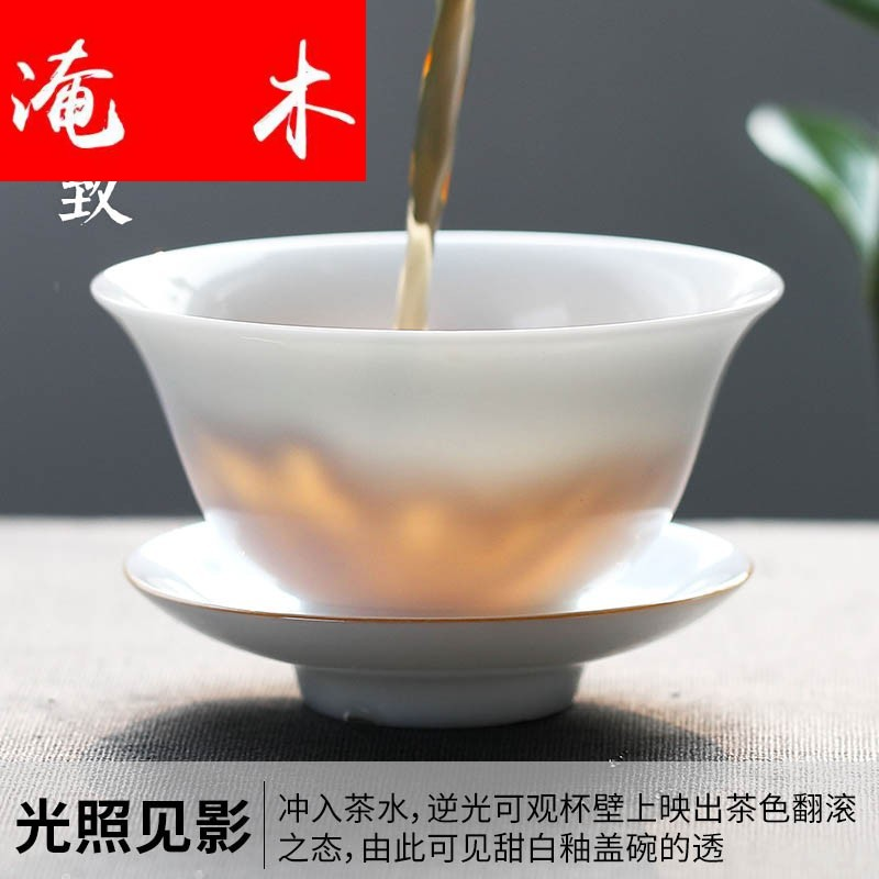 Submerged wood white porcelain hand - made porcelain tureen tea cups yongle sweet white glaze tureen three bowl of thin foetus ceramic tea set