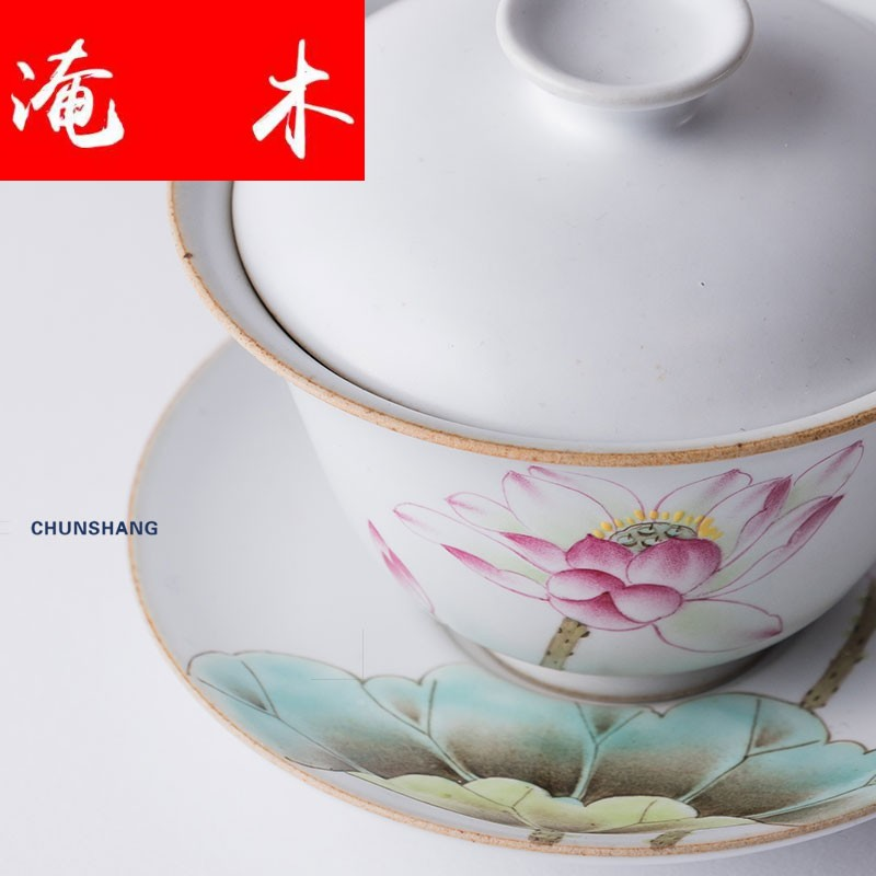Wood in the spring flood 丨 jingdezhen ceramic hand - made tureen cups pastel kung fu tea tea bowl lotus of pure