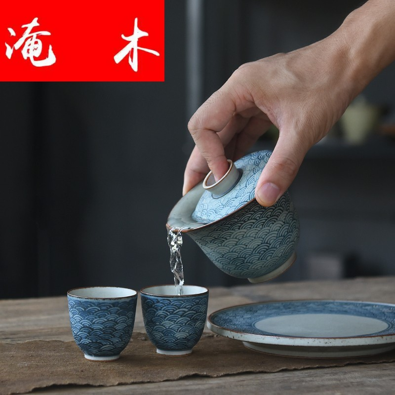Submerged wood pure manual only three tureen on blue and white thick ceramic glaze tureen xiangyun pot of kung fu tea cups