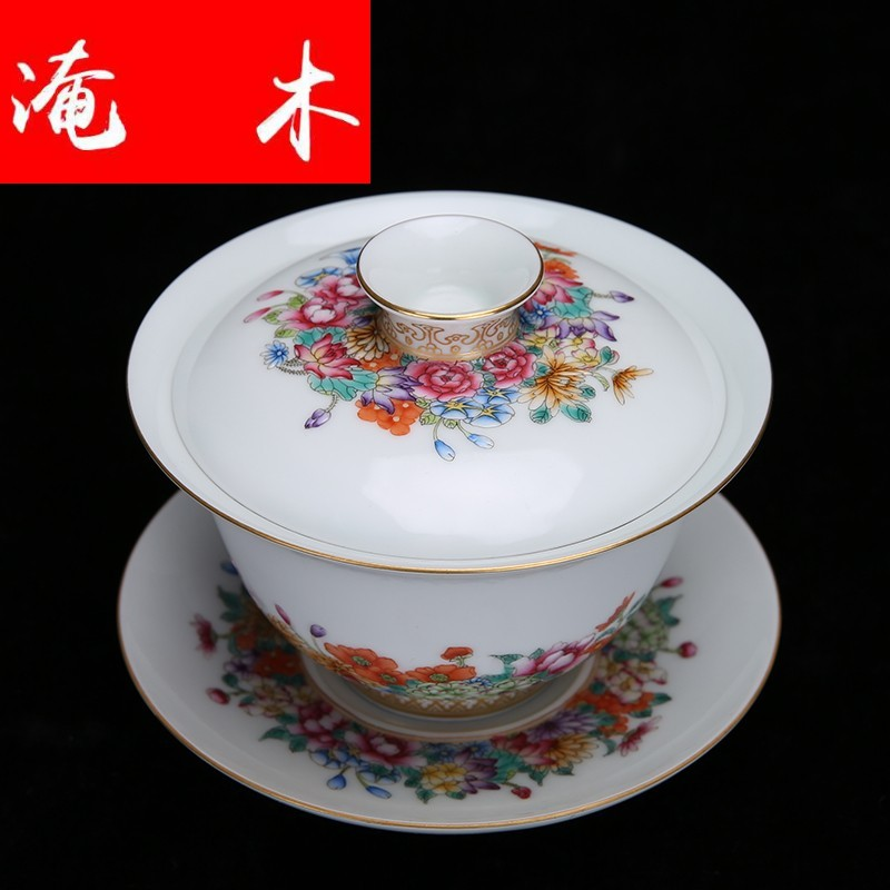 Flooded jingdezhen wood powder enamel hand - made paint flowers bloom three tureen kung fu tea bowl