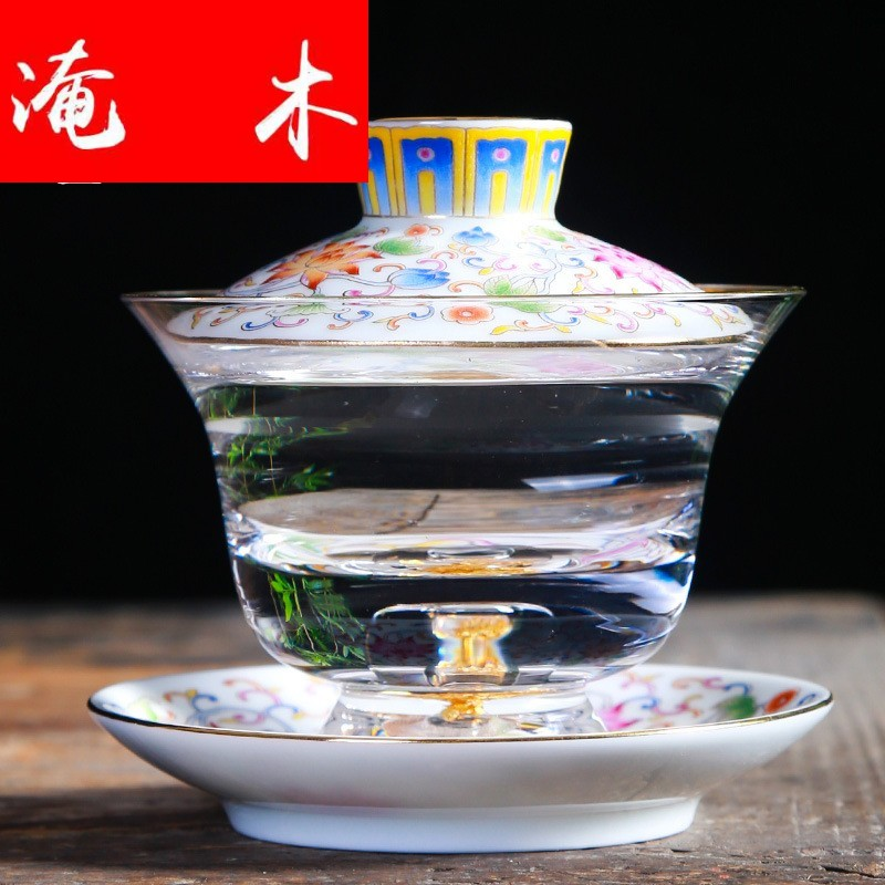 Submerged wood beauty ceramic colored enamel glass tureen large cups upset three to make tea bowl of household