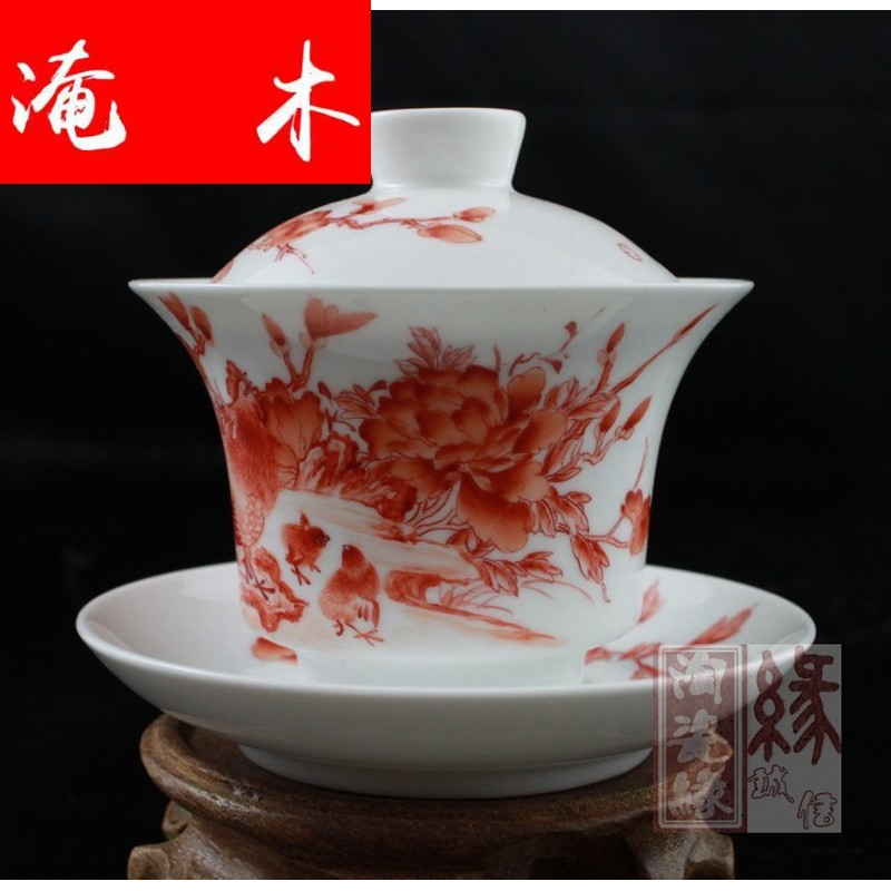 Submerged wood jingdezhen hand - made famille rose porcelain tea tureen three cup [business] bowl with water chestnut rice cup