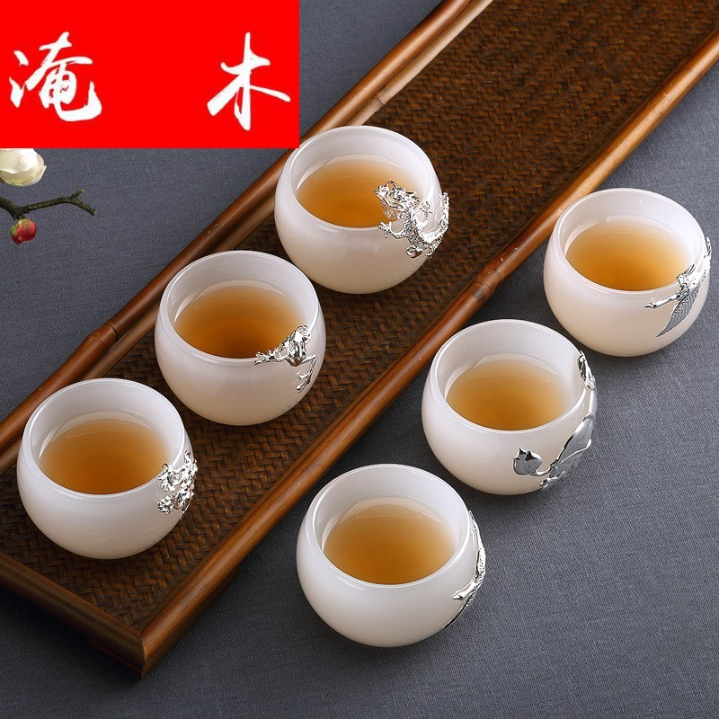 Flooded the wooden hand white porcelain individual small single CPU kung fu tea set with silver cups tea master sample tea cup of household ceramics