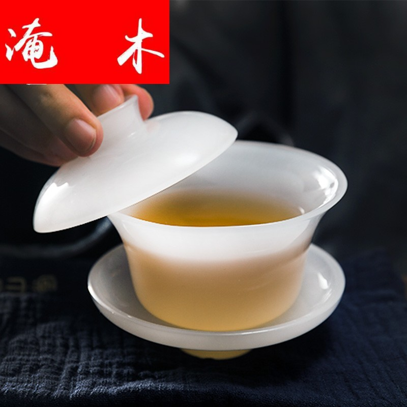 Submerged wood, jade porcelain tureen only three big bowl tea saucer fat white ceramic glass colored glaze kung fu tea accessories