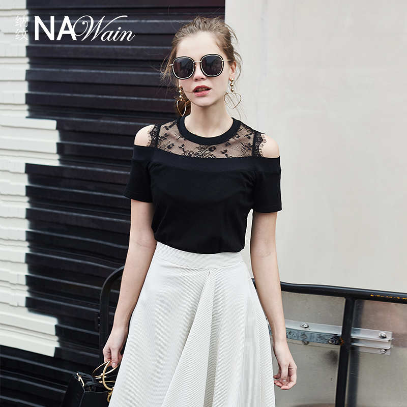 纳纹春夏女黑色修身一字肩蕾丝拼接短袖T恤紧身小上衣N60107X