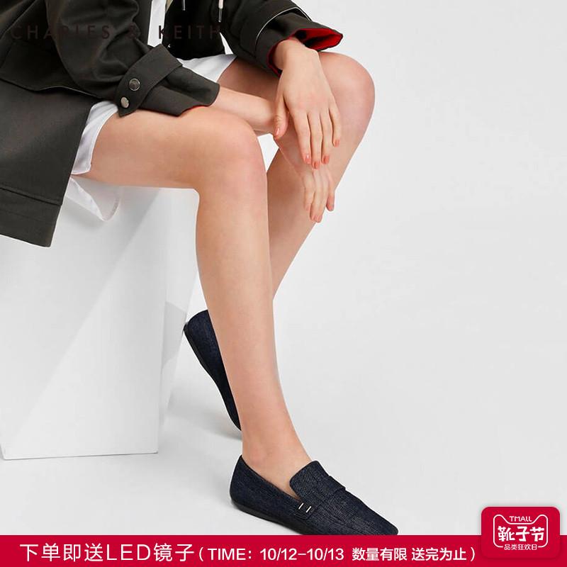 CHARLES&KEITH单鞋CK1-70390220小白鞋拼接牛仔女士方头乐福鞋