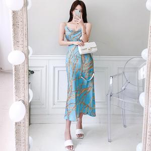 2127#2020夏新款韩版时尚气质链条印花吊带舒适连衣裙