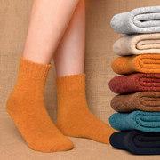 羊毛袜女加绒加厚冬季保暖中筒长筒纯棉袜月子袜秋冬羊绒厚袜子女
