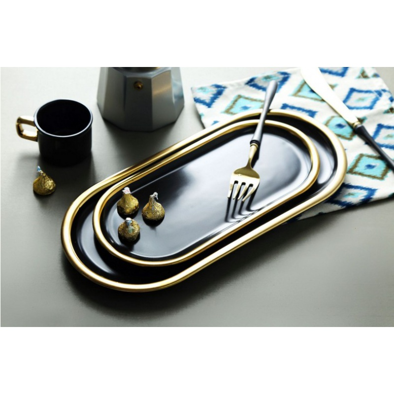 Black gold northern west dish creative flat fish dish meals contracted ellipsoid ceramic dish of dish tray was shoot all the props