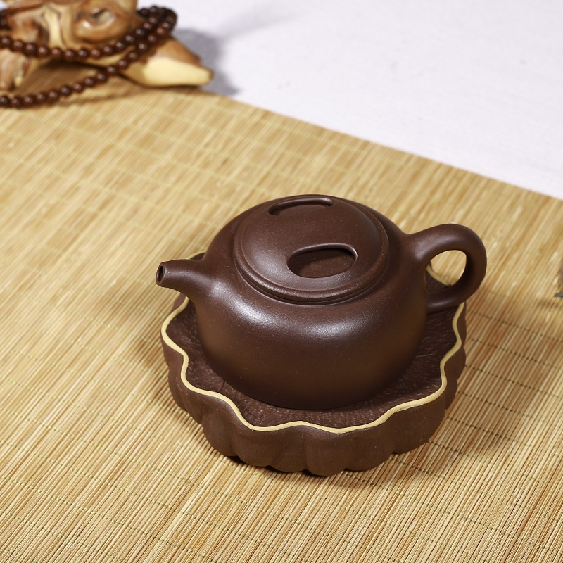 A pot of yixing purple lotus leaf pad bearing base the teapot tea pot doesn the CPU doesn pot small dry terms dry terms plate