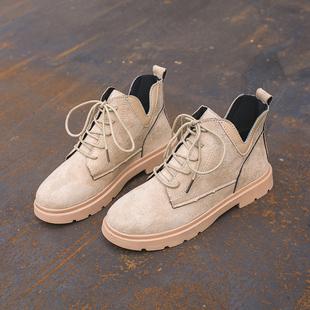 2019秋季新款英伦风时尚系带短筒马丁靴女韩版百搭学生显瘦短靴子