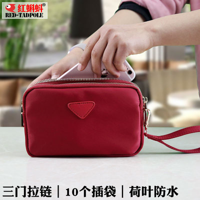 New three zipper purse female mini cute Korean small square fabric purse mobile phone bag key bag hand