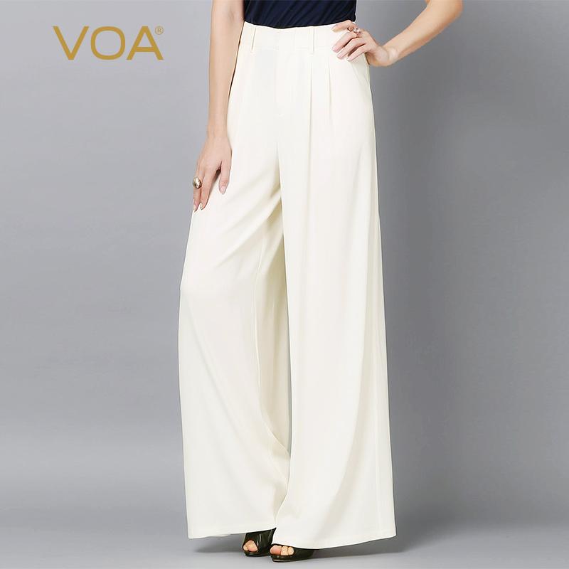 VOA36姆米北极白重磅弹力丝绸中腰长线条阔腿商务休闲裤子K5891