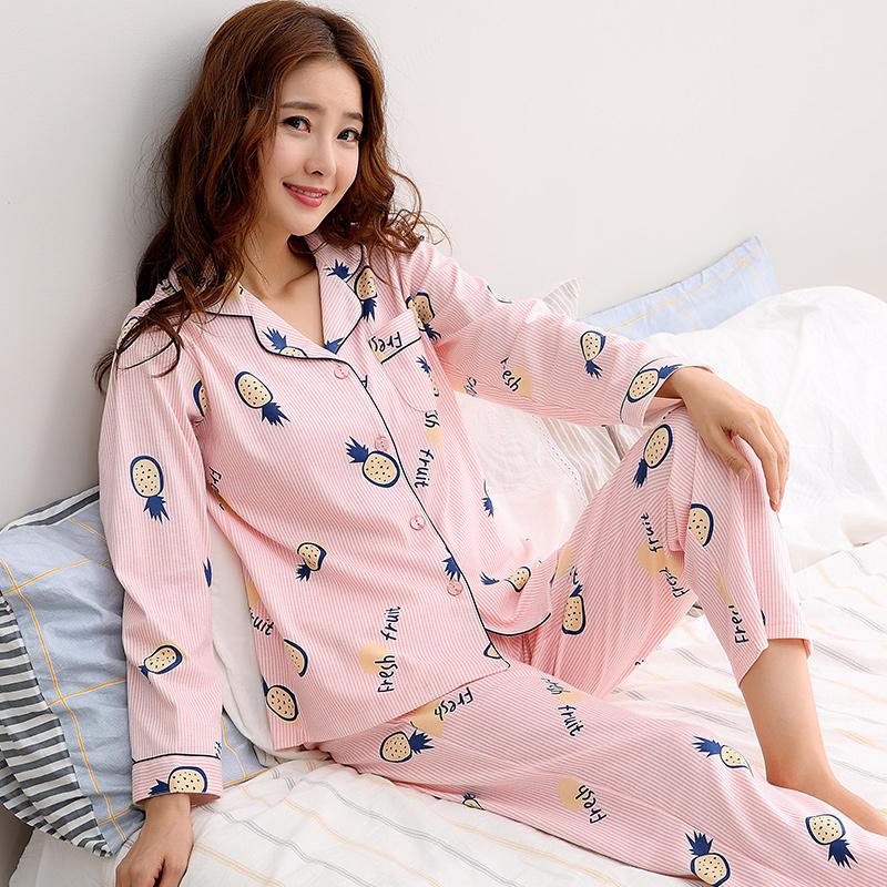睡衣女秋纯棉少女士长袖长裤套装韩版清新甜美可外穿家居服两件套