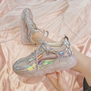 银色透明水晶底老爹鞋女亮面镭射网红亮皮休闲鞋亮闪闪果冻运动鞋
