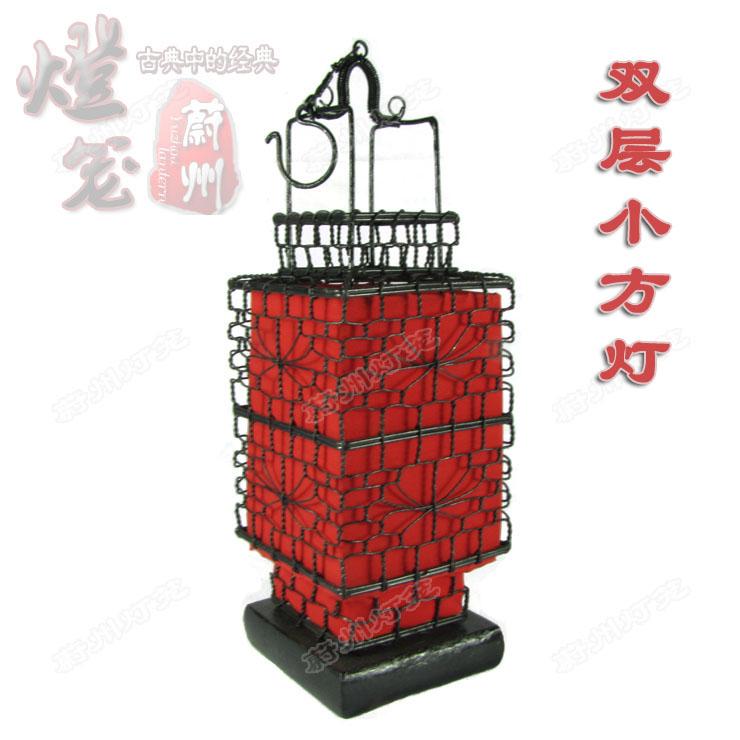 古典小方灯 铁丝大红灯笼 手工编织 仿古复古 田园灯笼 带灯