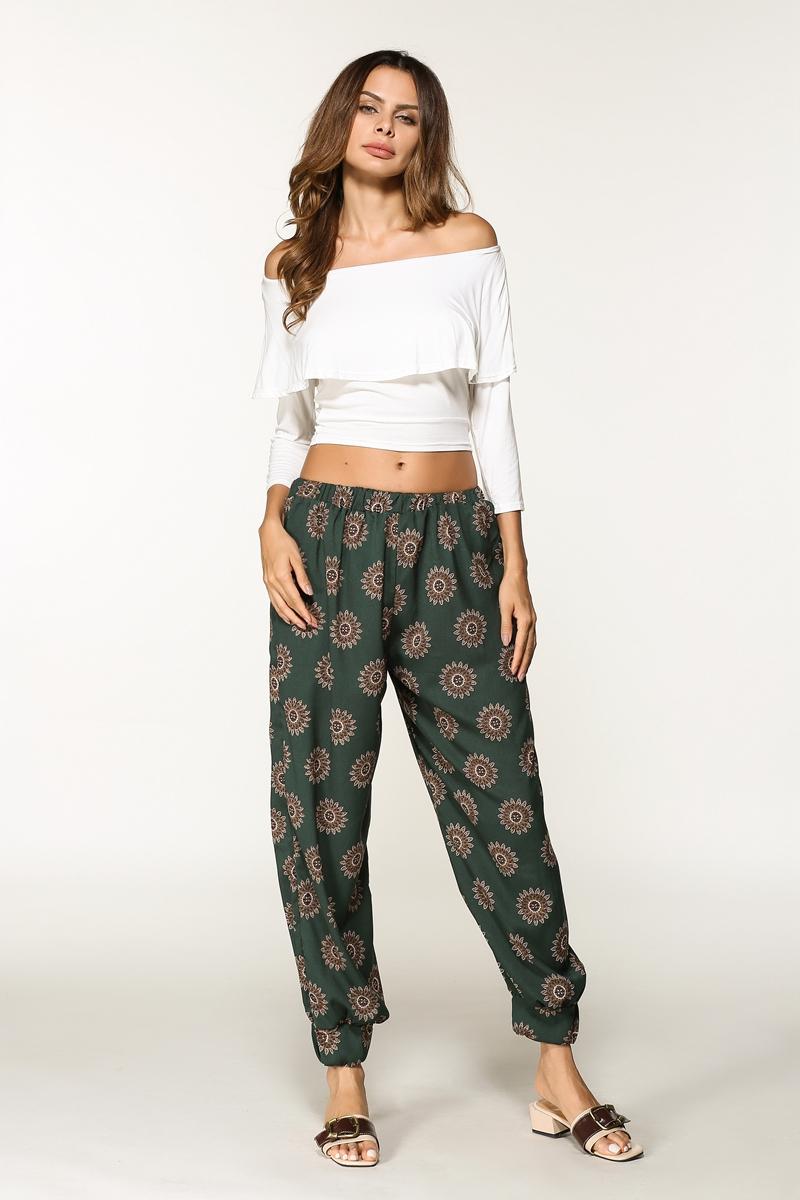 实拍亚马逊 速卖通 外贸女装2017夏装新款 印花 灯笼裤 长裤