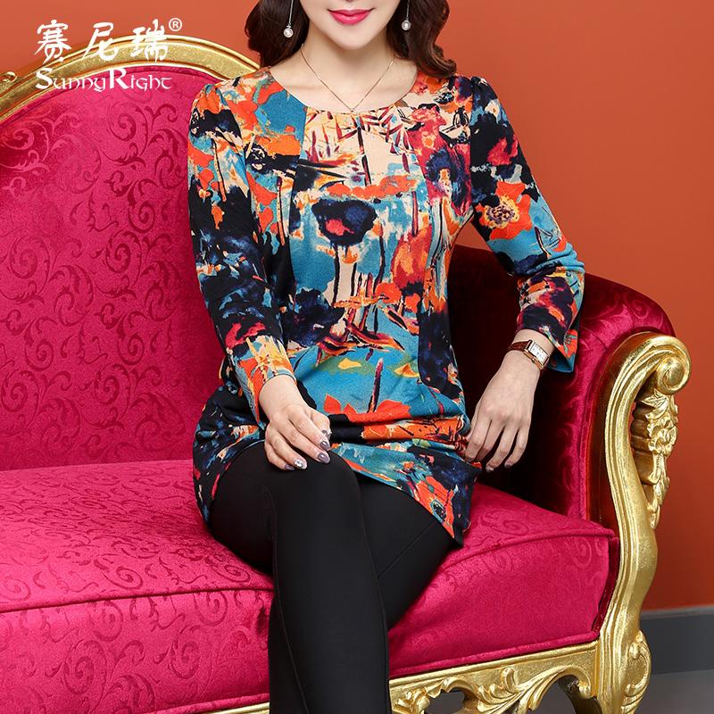 赛尼瑞女装2018春秋新款打底衫中长款气质圆领修身印花妈妈装T恤