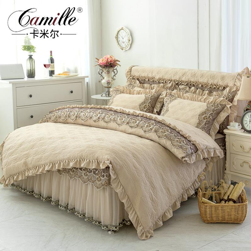 卡米尔韩版夹棉床裙式四件套公主蕾丝床罩4件套1.5m1.8米加棉被套