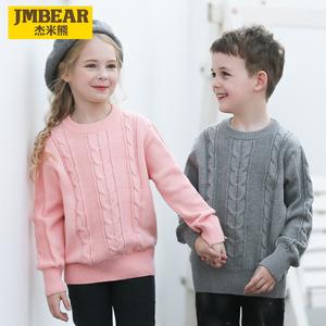 杰米熊童装男童毛衣2019秋装新款女童针织衫中大儿童套头打底线衣