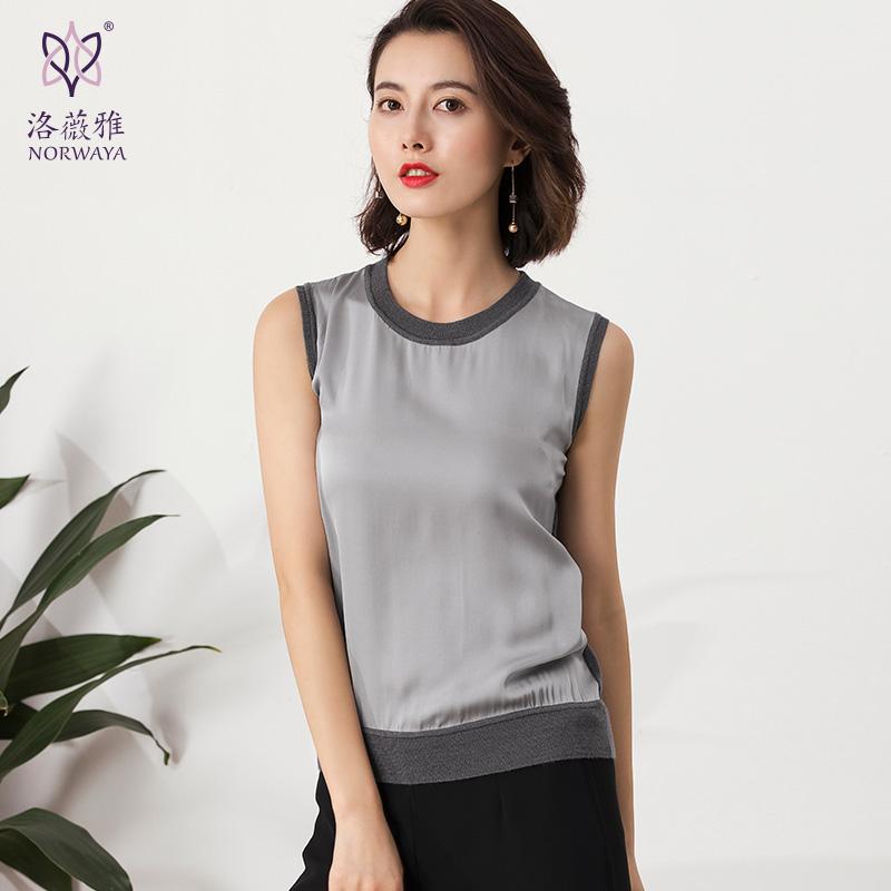 无袖针织背心女夏外穿2018新款薄款真丝羊毛拼接针织衫女宽松套头
