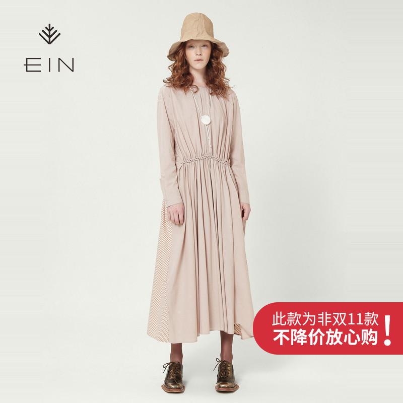 EIN-言纯棉文艺长袖长款裙子格纹连衣裙秋季2018新款女中长款