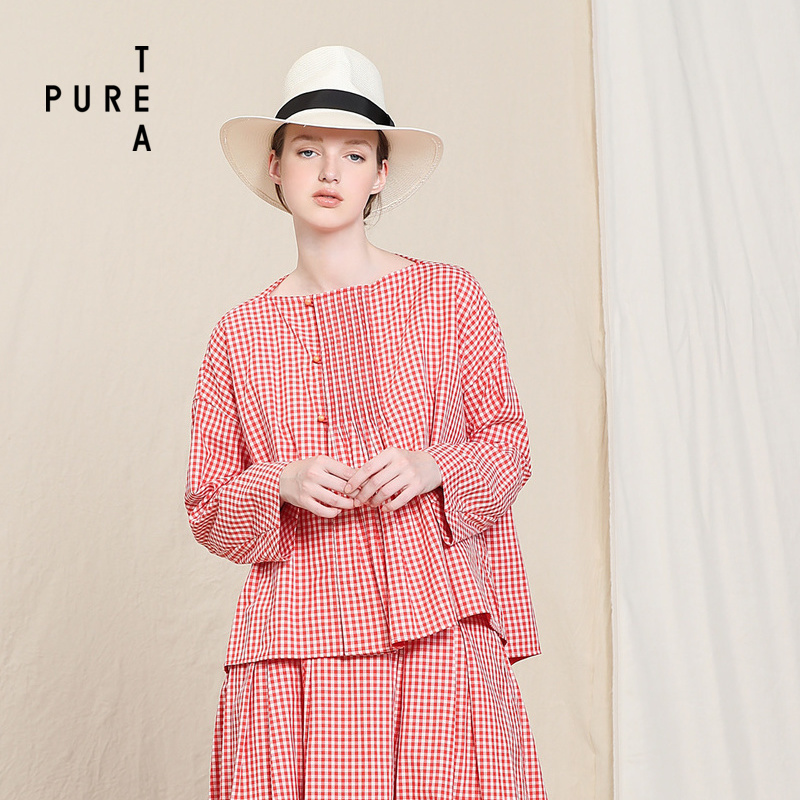 PURE TEA-茶愫 宽松长袖格子短上衣外套韩版T恤女2018秋装新款