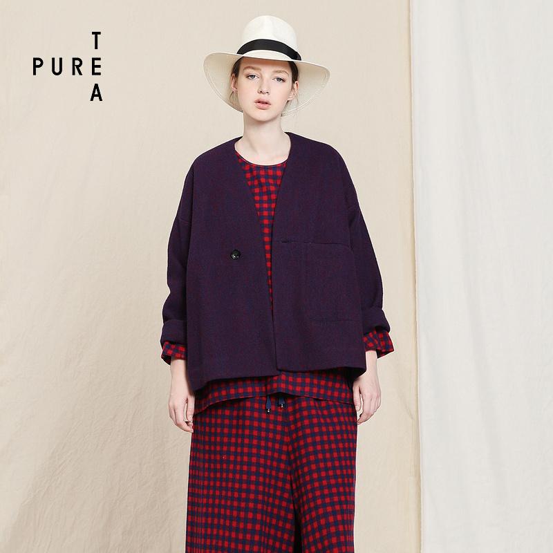 PURE TEA-茶愫纯羊毛宽松百搭短款长袖上衣外套2018新款女 秋装
