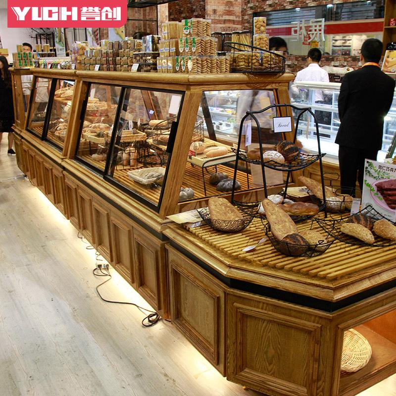 面包柜面包展示柜中岛柜边柜实木面包架蛋糕柜面包店陈列道具实木