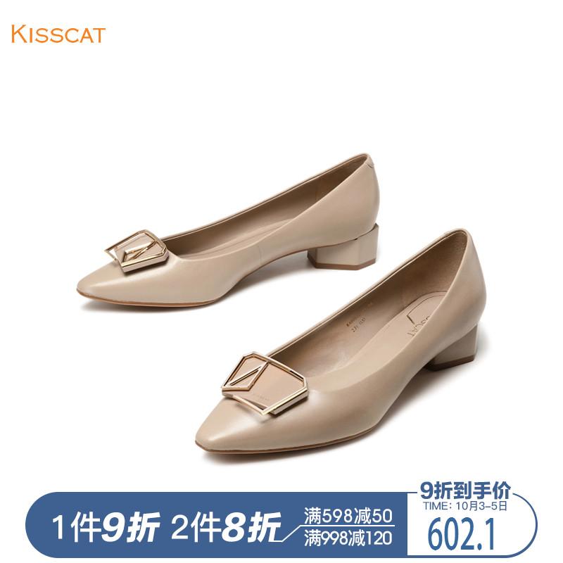 接吻猫2018秋季新款羊皮革低跟粗跟金属饰扣浅口单鞋女KA98523-11