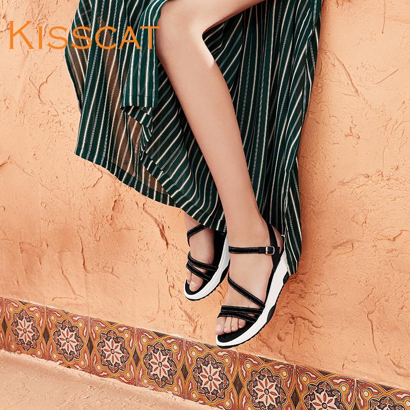 接吻猫2018夏新款舒适羊绒水钻设计舒适运动厚底凉鞋女KA98381-50