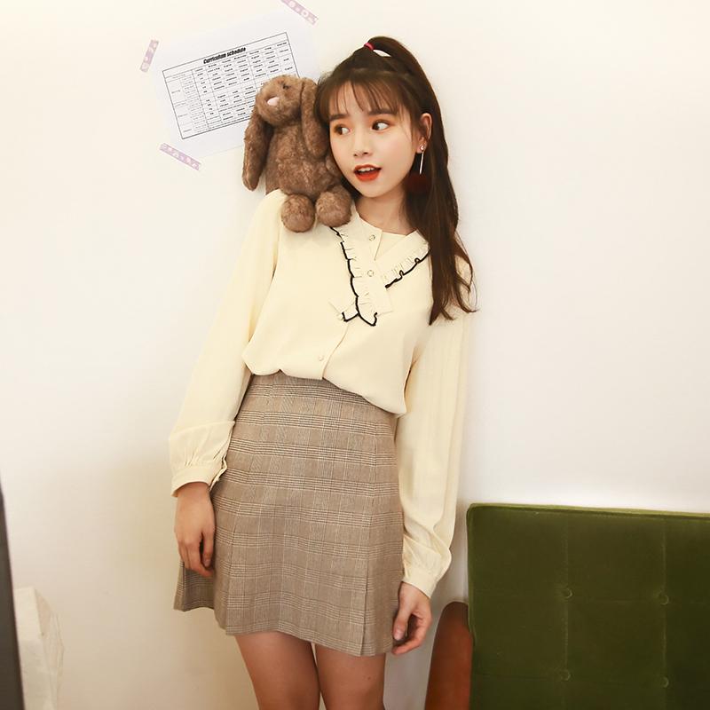 2018爱爱丸 2.14春装新款 撞色包边木耳边拼接领口显瘦雪纺衬衫