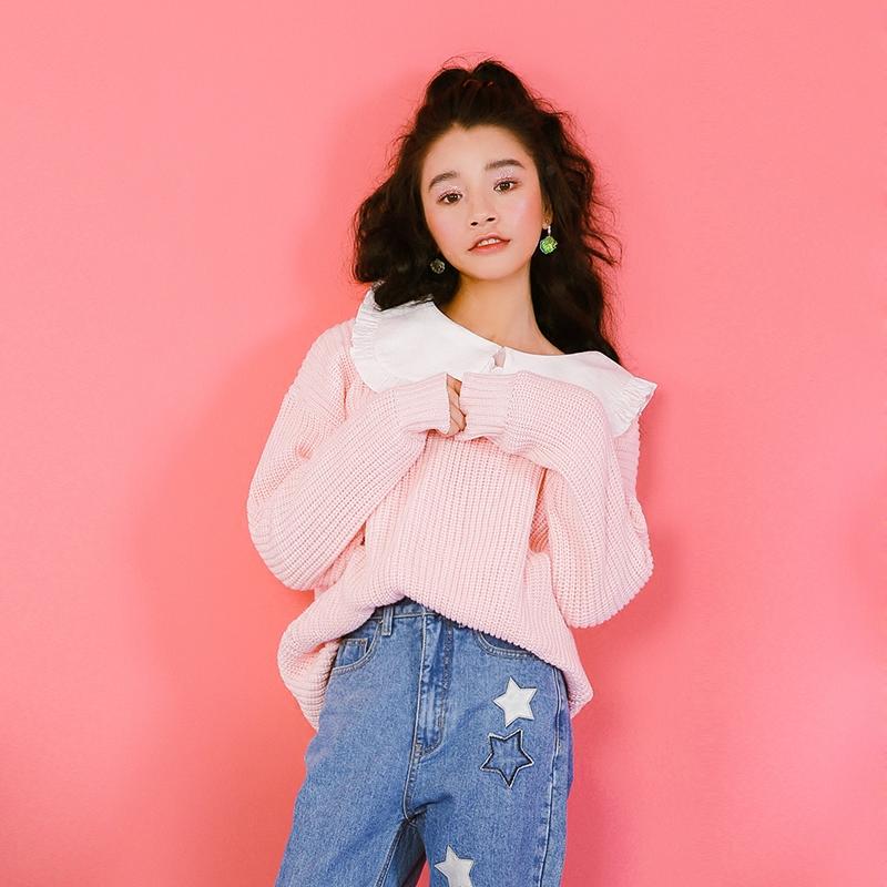 2018 love spring sweet temperament pill original design simple V collar loose thin sweater sweater dress