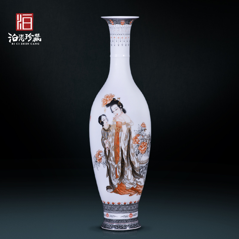 Jingdezhen ceramic hand - made color ink drunken beauty decoration new sitting room of Chinese style household vase collection furnishing articles