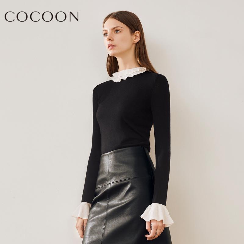 可可尼2018冬装新品女装优雅气质撞色喇叭袖休闲针织衫上衣