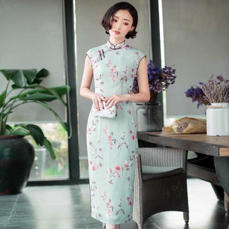 旗袍夏季2018新款女 中国风[逸红颜 都铃]改良旗袍连衣裙 中长款
